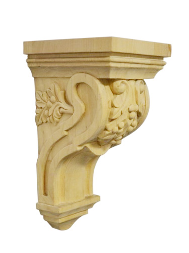Maple wood corbel leaf berry carving hardware supply