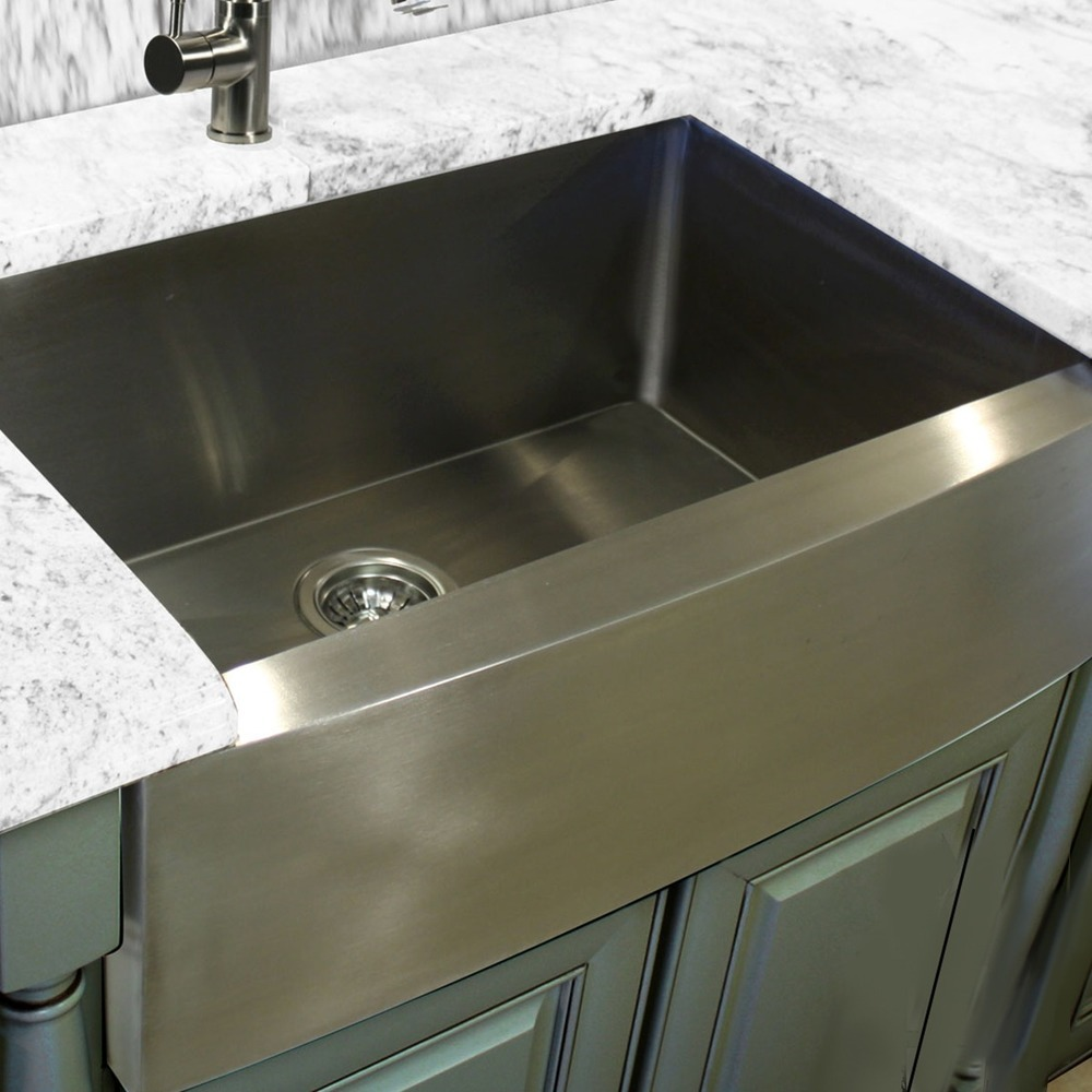 "30"" Zero Radius Handmade Stainless Steel Farmhouse Apron Kitchen Sink"