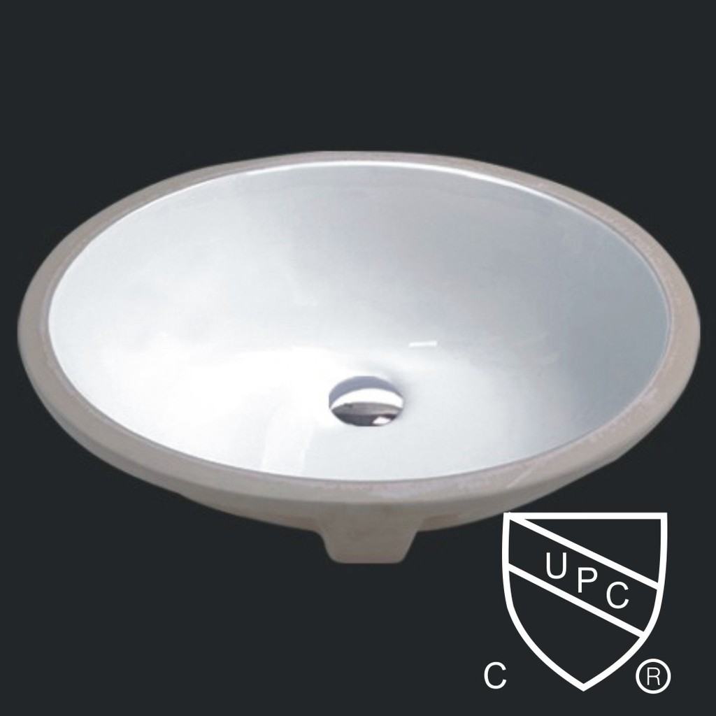 White Ceramic Bathroom Vanity Oval Undermount Sink
