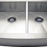 "33"" Stainless Steel 60/40 Offset Curved Apron Kitchen Farm Sink"