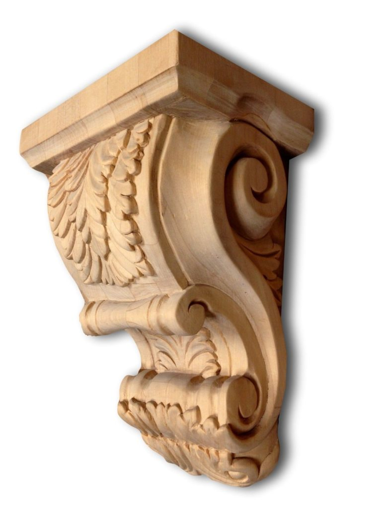 Large maple wood corbel acanthus leaf carving hardware
