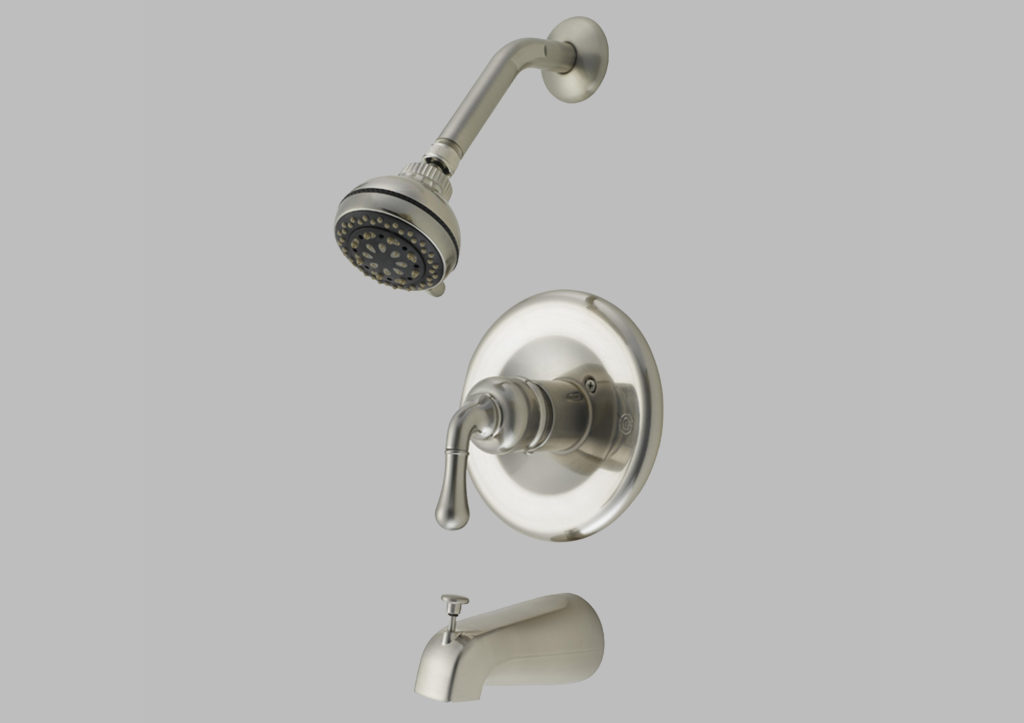 Satin Nickel Shower Head and Tub Faucet Set - Hardware Supply Source