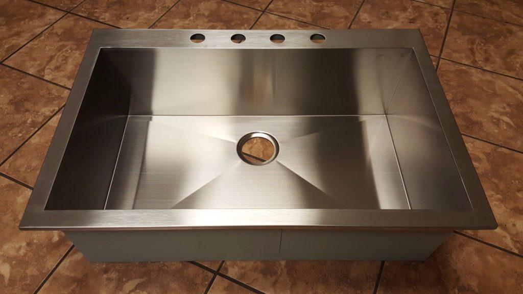 Handmade Stainless Steel Top Mount Zero Radius Kitchen Sink ...