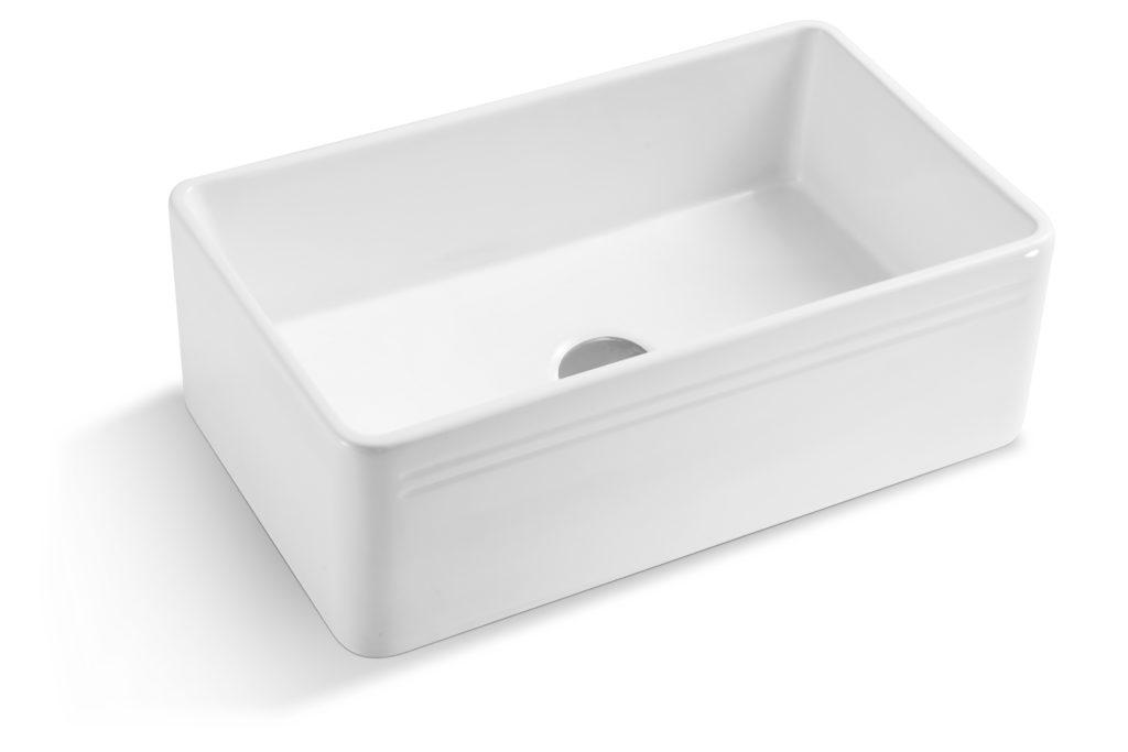 30 White Fireclay Farmhouse Single Bowl Kitchen Sink